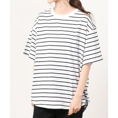 tシャツ Tシャツ WEGO/【EC限定】コットンスリットラウンドTシャツ