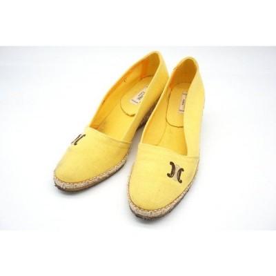 セリーヌ 37(約23cm) パンプス スリッポン シューズ ブラゾン ロゴ刺繍 ウェッジソール 靴 黄色 イエロー CELINE 0752i