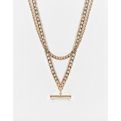 エイソス レディース ネックレス・チョーカー アクセサリー ASOS DESIGN multirow necklace with t bar pendant in gold tone