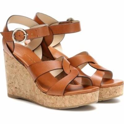 ジミー チュウ Jimmy Choo レディース サンダル・ミュール ウェッジソール シューズ・靴 Aleili 100 leather wedge sandals Cuoio