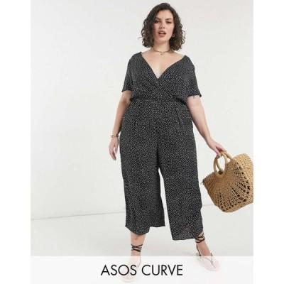 エイソス ASOS Curve レディース オールインワン キュロット ジャンプスーツ Asos Design Curve Wrap Waist Culotte Jumpsuit In Mono Spot モノスポット