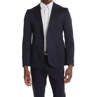 ボス メンズ ジャケット&ブルゾン アウター Sevis Blue Solid Two Button Notch Lapel Sport Coat OPEN BLUE
