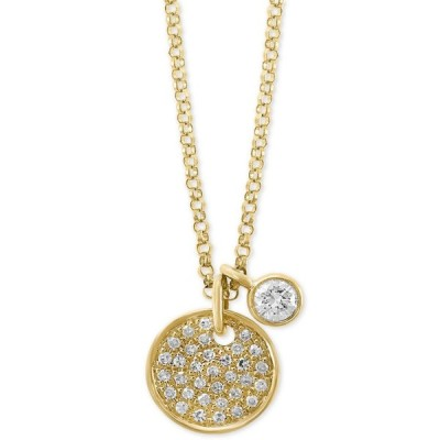 """エフィー EFFY Collection レディース ネックレス チャーム EFFY Diamond Charm and Circular 18"""" Pendant Necklace (1/4 ct. t.w.) in 14k Gold Yellow Gold"""