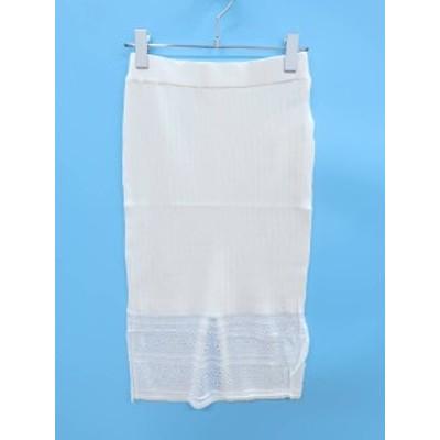 DURAS(デュラス)裾透かし柄ニットスカート 白 レディース 新品 F [委託倉庫から出荷]