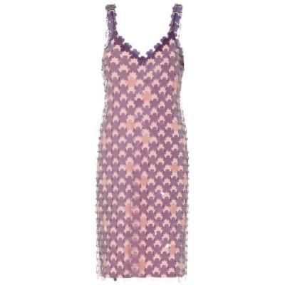 パコラバンヌ Paco Rabanne レディース ワンピース ワンピース・ドレス Flower PVC minidress Puprle/Pink