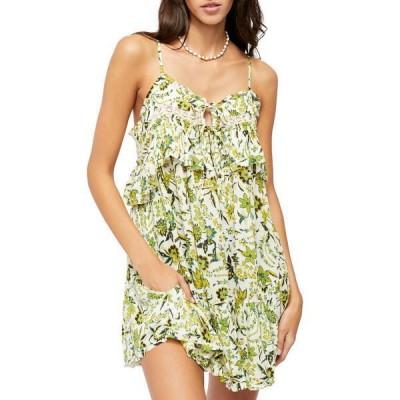フリーピープル レディース ワンピース トップス Take Me With You Ruffle Floral Print Mini Dress TEA COMBO