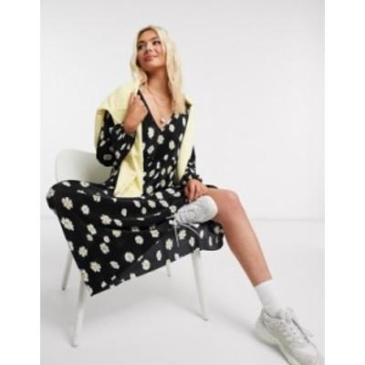 エイソス レディース ワンピース トップス ASOS DESIGN plisse smock maxi dress with v neck in daisy floral print Black base daisy f
