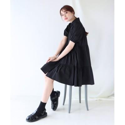 【ブルーイースト】 ティアードチュニックシャツワンピース レディース ブラック M(01) BLUEEAST