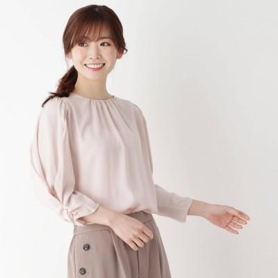 ピンクアドベ pink adobe 【M-3L】ギャザースリーブ ブラウス (クリームピンク)