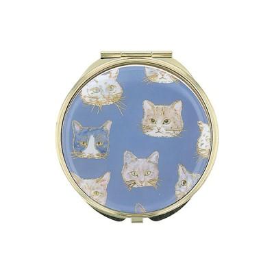 手鏡 ミラー 拡大鏡 キラキラ プレゼント コンパクトミラー 猫フェイスパターン ネコ 動物 GMR0142-GY グレー 雑貨 おしゃれ かわいい