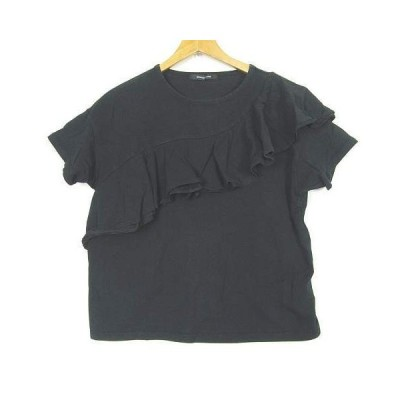 【中古】ローズバッド ROSE BUD Tシャツ 半袖カットソー 胸元フリル コットン ストレッチ ブラック F so0164 レディース 【ベクトル 古着】
