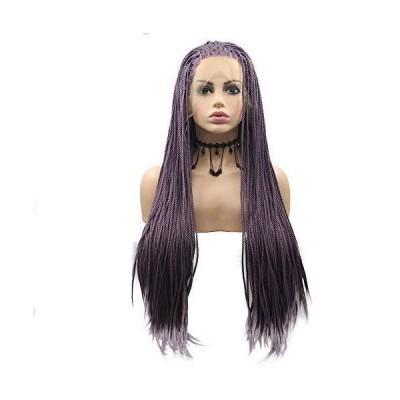 (新品) Rainahair 24inch Lavender Lilac Handmade Box Braided Lace Front Wig Heat Resistant Fiber Lilac Purple Synthetic Braids Wigs Wom