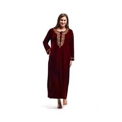 La Cera レディース ベルベット ドレス Medium レッド/ゴールド(海外取寄せ品)
