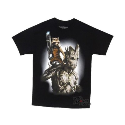 Tシャツ マーベルコミックス Guardians of the Galaxy Rocket   Groot Fully Loaded Licensed Adult Shirt S-XXL