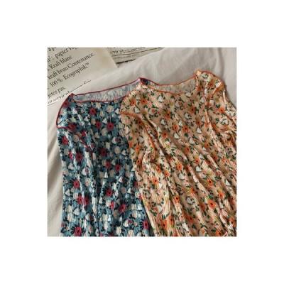 【送料無料】レトロな花柄 若いもの 薄いスタイル 長袖シャツ 女 着やせ 着やせ 丸   346770_A63731-2860550