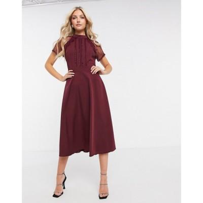 リカリッシュ Liquorish レディース ワンピース ミドル丈 ワンピース・ドレス a line lace detail midi dress in burgundy バーガンディ