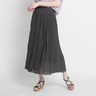 ザ ショップ ティーケー  ウィメンズ THE SHOP TK(Women) ワッシャープリーツスカート (チャコールグレー)