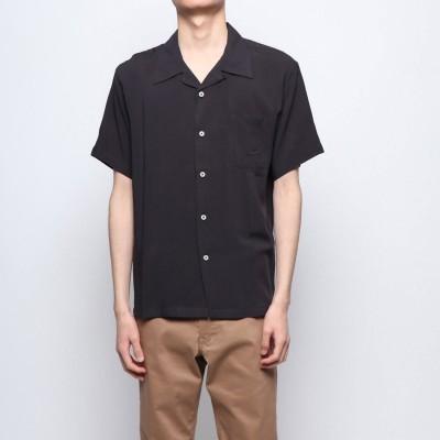 スタイルブロック STYLEBLOCK 無地半袖オープンカラーシャツ (ブラック)
