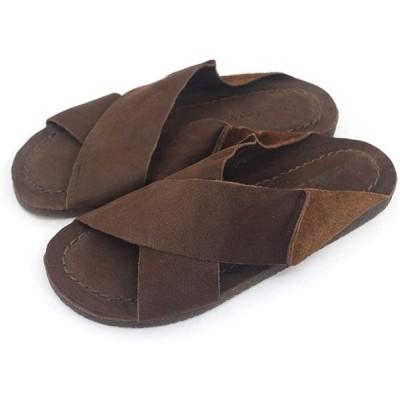 [Harssidanzar] レディース スリッパ 室内履き 牛革 天然皮革 滑り止め 通気性ダークブラウン24cm