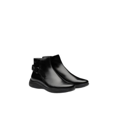 プラダ PRADA アンクルブーツ ブーツ シューズ 靴 ブラック カーフレザー
