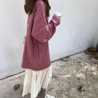 オーバーサイズニット ケーブル編み ニット ゆったり カジュアル きれいめ ロング丈 秋 冬 シンプル 体型カバー 大人 デート お出かけ
