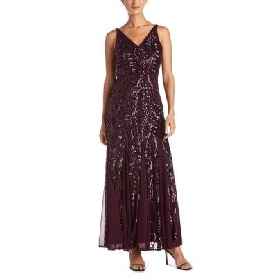 ナイトウェイ ワンピース トップス レディース Petite Size Sleeveless Sequin Gown Plum