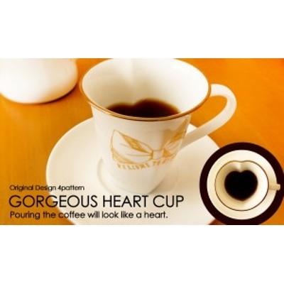 GORGEOUS HEART CUP-OriginalDesign-【ゴージャスハートカップ・4パターン・ハート型・アメリカンコーヒー碗・マグカップ・ゴールド・GO