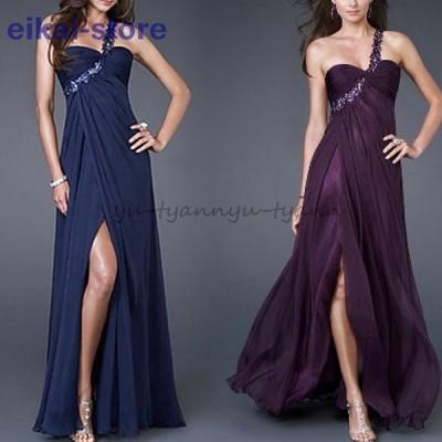 ドレス パーティードレス ロング Aライン レディース イブニング ワンショルダー ワンピース ウェディング 上品 きれい 2021 新作 人気