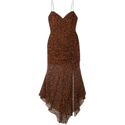 NICHOLAS 7分丈ワンピース・ドレス ココア 2 シルク 100% 7分丈ワンピース・ドレス
