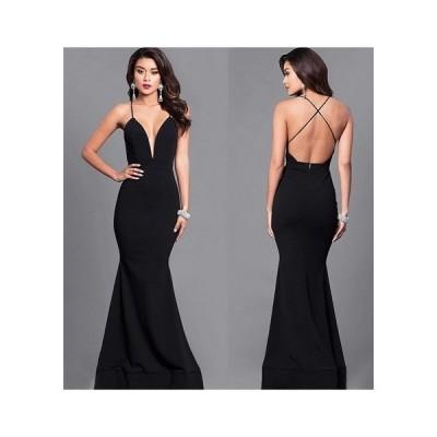 ロングドレス シンプル  マーメイドライン クロスストラップ キャミドレス (ブラック)