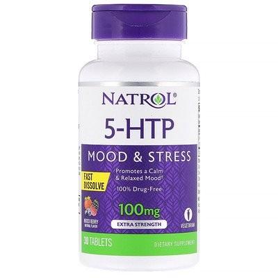5-HTP、速溶性、エクストラストレングス、ワイルドベリー味、100mg、30錠