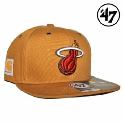 47ブランド カーハート コラボ スナップバックキャップ 帽子 メンズ レディース 47BRAND CARHARTT NBA マイアミ ヒート フリーサイズ [ b
