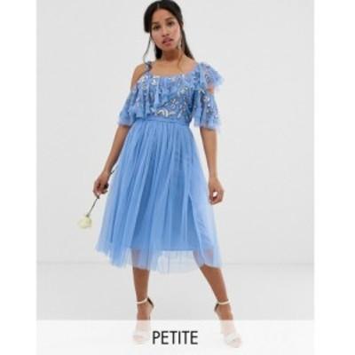 マヤ Maya Petite レディース ワンピース キャミワンピ cami strap sequin top tulle detail midi dress with ruffle skirt in bluebell