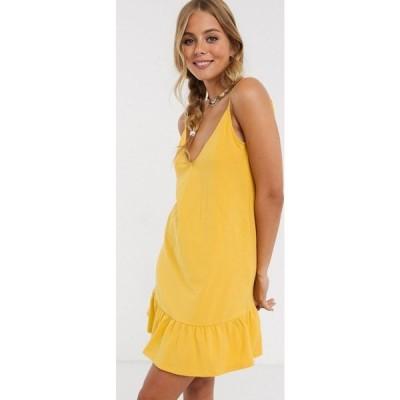 エイソス ASOS DESIGN レディース ワンピース サンドレス ミニ丈 ワンピース・ドレス v front mini sundress with pep hem in yellow マスタード