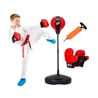 Costzon Kids Boxing Set, Height Adjustable Punching Ball Stand, Hand Pump,