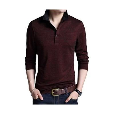 [YFFUSHI] メンズ ポロシャツ polo tシャツ ゴルフウェア ゴルフシャツ 無地 長袖 着心地良い スポーツ (レッド M)
