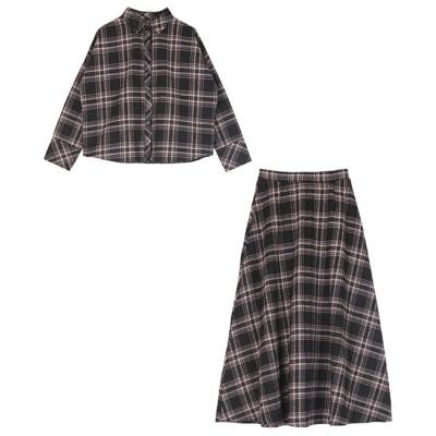 【ティティベイト/titivate】 チェックネルシャツ×フレアスカートセットアップ