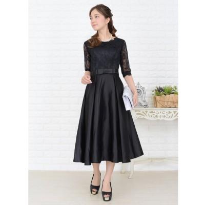 【レースレディース】 ウエストリボン付きサテン風Aラインワンピース・ドレス レディース ブラック XL Lace Ladies