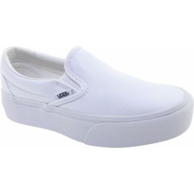バンズ レディース スニーカー シューズ Vans Classic Slip-On Platform Sneaker True White Textile