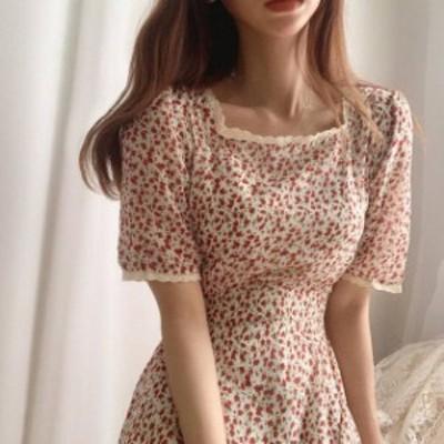 花柄 ワンピース ロング レース スクエアネック フレア ハイウエスト レトロ 半袖 フェミニン 大人可愛い 韓国 オルチャン ファッション