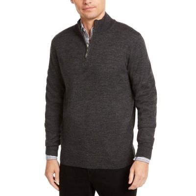 クラブルーム Club Room メンズ ニット・セーター トップス Regular-Fit 1/4-Zip Merino Sweater Ebony Heather