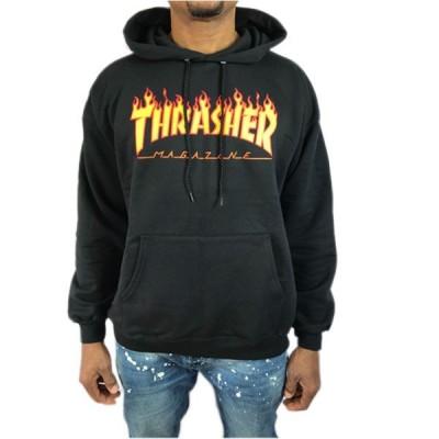 Thrasher スラッシャー かぶりパーカー フーディー メンズ 長袖 ブラック 黒 フレイム FLAME プルオーバー●pk638