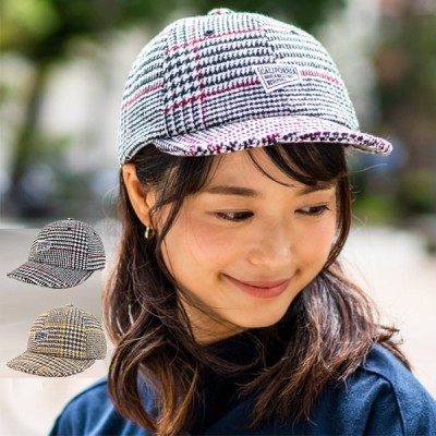 CALIFORNIA カリフォルニア ショートバイザーキャップ 帽子 大きいサイズ 深い ウール  チェック 柄 アウトドア 自転車 おしゃれ メンズ レディース