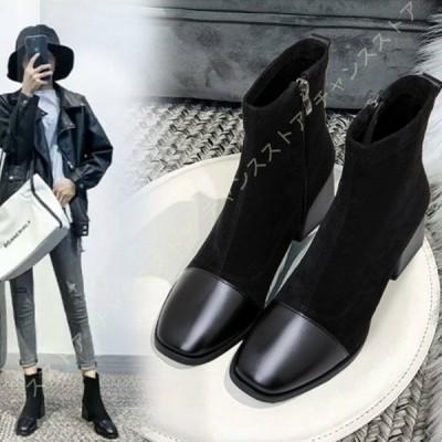 レディース ストレッチブーツ チャンキーヒール 5cmヒール スクエアトゥ ショートブーツ ローヒール ブーツ 太ヒール 安定 歩きやすい 履きやすい 滑りにくい