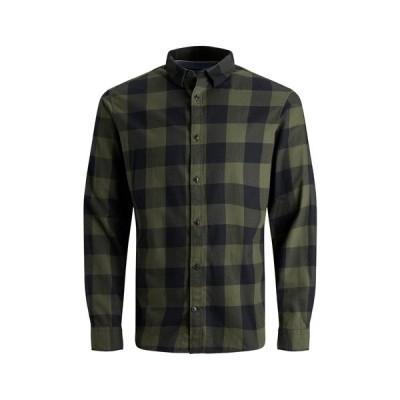 ジャック アンド ジョーンズ メンズ シャツ トップス Gingham Twill Long Sleeve Shirt DUSTY OLIVESLIM