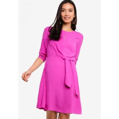 ザローラ Zalora レディース パーティードレス ワンピース・ドレス Ruched Sleeves Fit & Flare Dress Plum