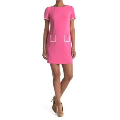 トミー ヒルフィガー レディース ワンピース トップス Short Sleeve Scuba Crepe Contrast Trim Dress DHL/IVRY