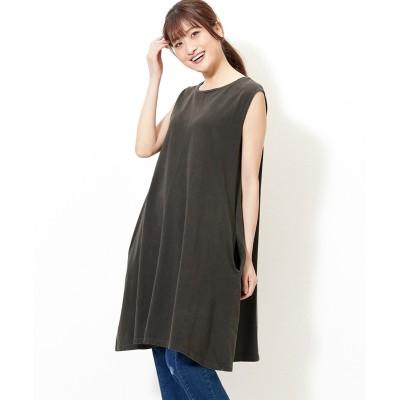 大きいサイズ  ヴィンテージ加工綿100%切替デザインジャンパースカート ,スマイルランド, ワンピース, plus size dress