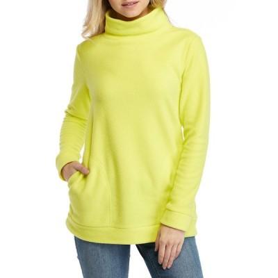 クラウン&アイビー パーカー・スウェットシャツ アウター レディース Women's Long Sleeve Mock Neck Tunic  Lime