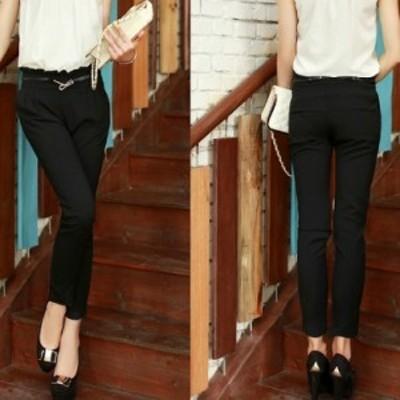 【L即納】ベルト付パンツのみ(トップス含みません)履き口フリル黒bmv-7319